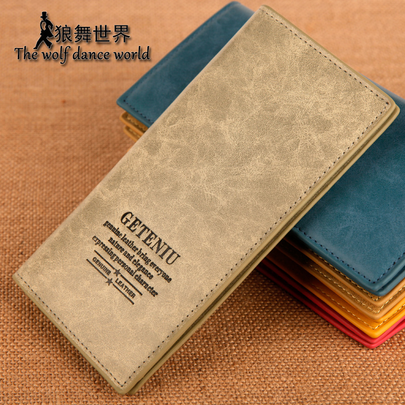 Professional male genuine leather medium-long cowhide wallet casual card holder purse(China (Mainland))