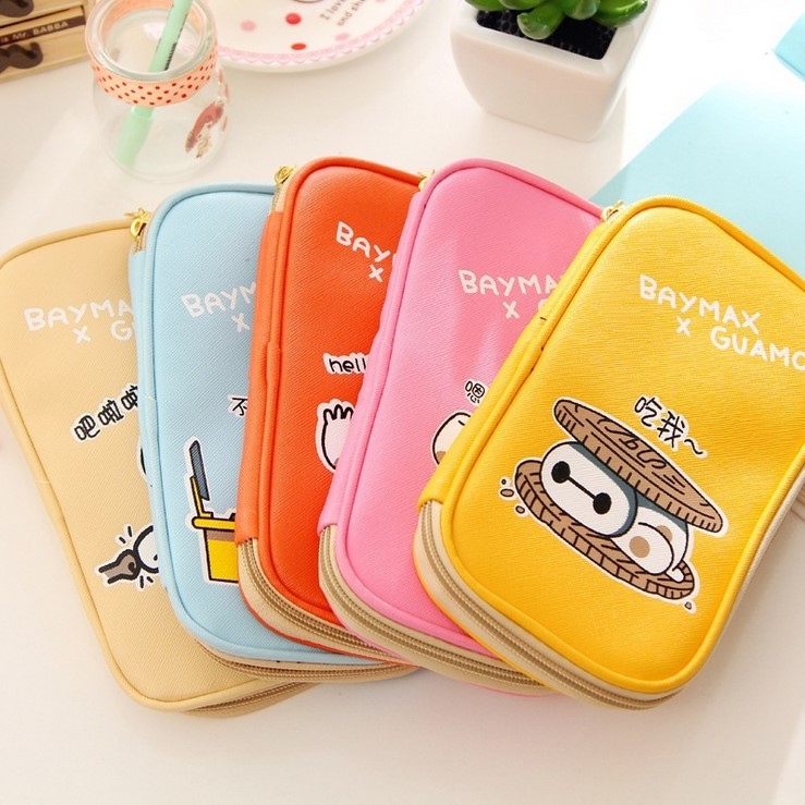 Korean Fashion Multifunction Color Large Size Makeup Bag Cartoon Cosmetic Storage Pouch School Pencil Case Purse_Free shipping(China (Mainland))