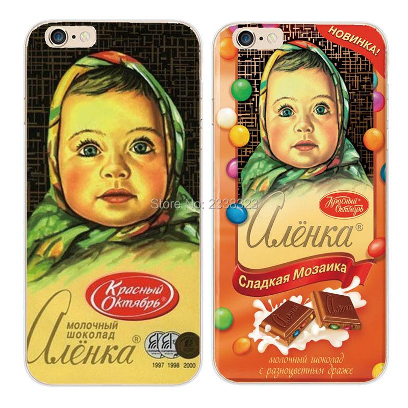 New Big Head Doll Chocolate Hard Transparent Cell Phone Case Cover Para Capa For iPhone 4 4s 5 5s SE 5c 6S 6 plus 7 7Plus Fundas(China (Mainland))