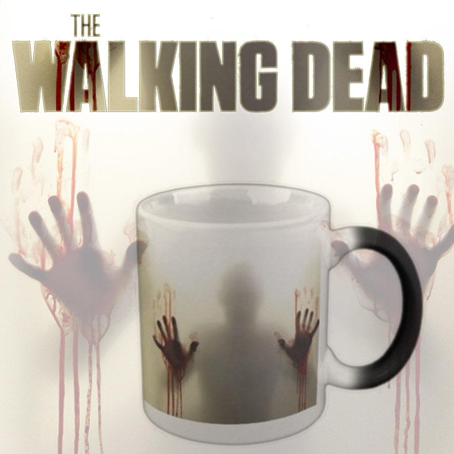 """The Walking Dead"" Mug Color Changing Heat Sensitive Ceramic Cup,Terrorist Zombie Coffee Cup for friend Gift(China (Mainland))"