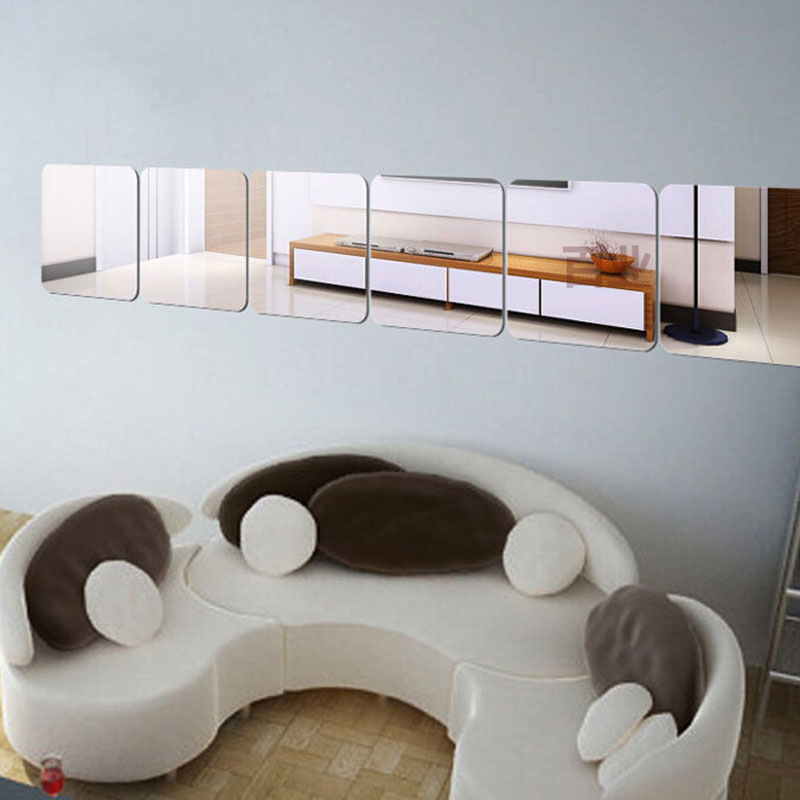 Simple Design 6Pcs/pack Classic Square Modern Mirror Wall Home Room Decal Decor Vinyl Art Stickers #81639
