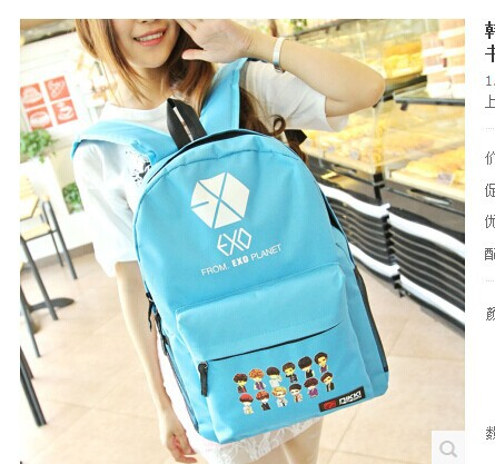 Korean students Canvas Backpack male leisure travel bag female fashion Institute of wind exo bag(China (Mainland))