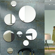 Mirror Sticker 3d Acrylic Mirror Wall Decals diy Round Wall Mirror Wall Stickers Home Decor(China (Mainland))