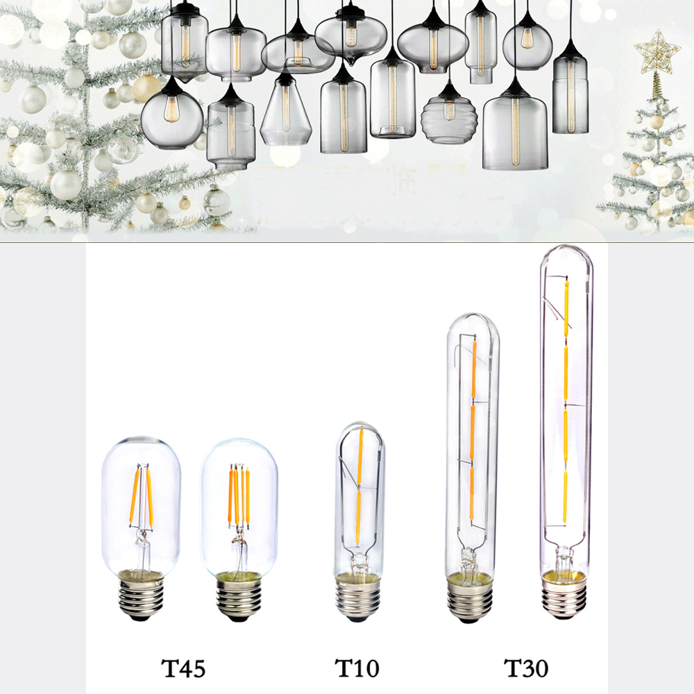 E27 COB LED Vintage Retro Edison Filament Antique Industrial Style T30-185 T30-225 T10 T45 Led Specialty Decorative Light Bulbs(China (Mainland))