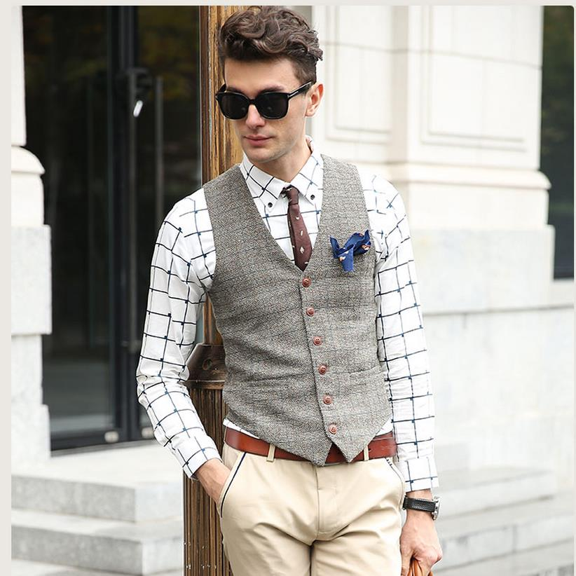 Suit Vest Men Beige Gray Brown Vintage Tweed British Sleeveless Jackets Casual Spring Autumn Plus Size Mens Waistcoat Brand New(China (Mainland))