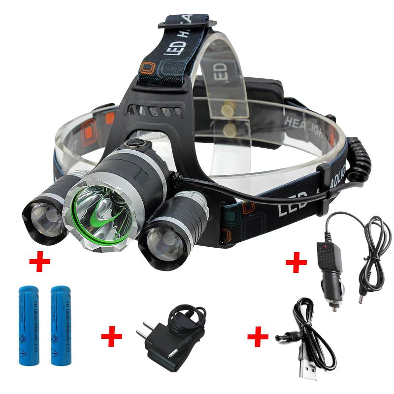 Rechargeable 12000Lm xm-L2 Led HeadLamp Headlight torches flashlight Fishing Lamp+2*18650 battery+Car EU/US/AU/94 charger+USB(China (Mainland))