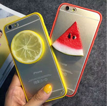 2015 The Newest Summer 3D Cool Fruit Watermelon lemon Orange Lime Soft TPU+Crystal Clear PC Case Cover For iPhone 5 6 6 plus