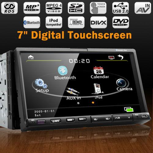 7 inch 2 din slide down RDS Bluetooth AD2P Steering wheel control touchscreen car dvd radio