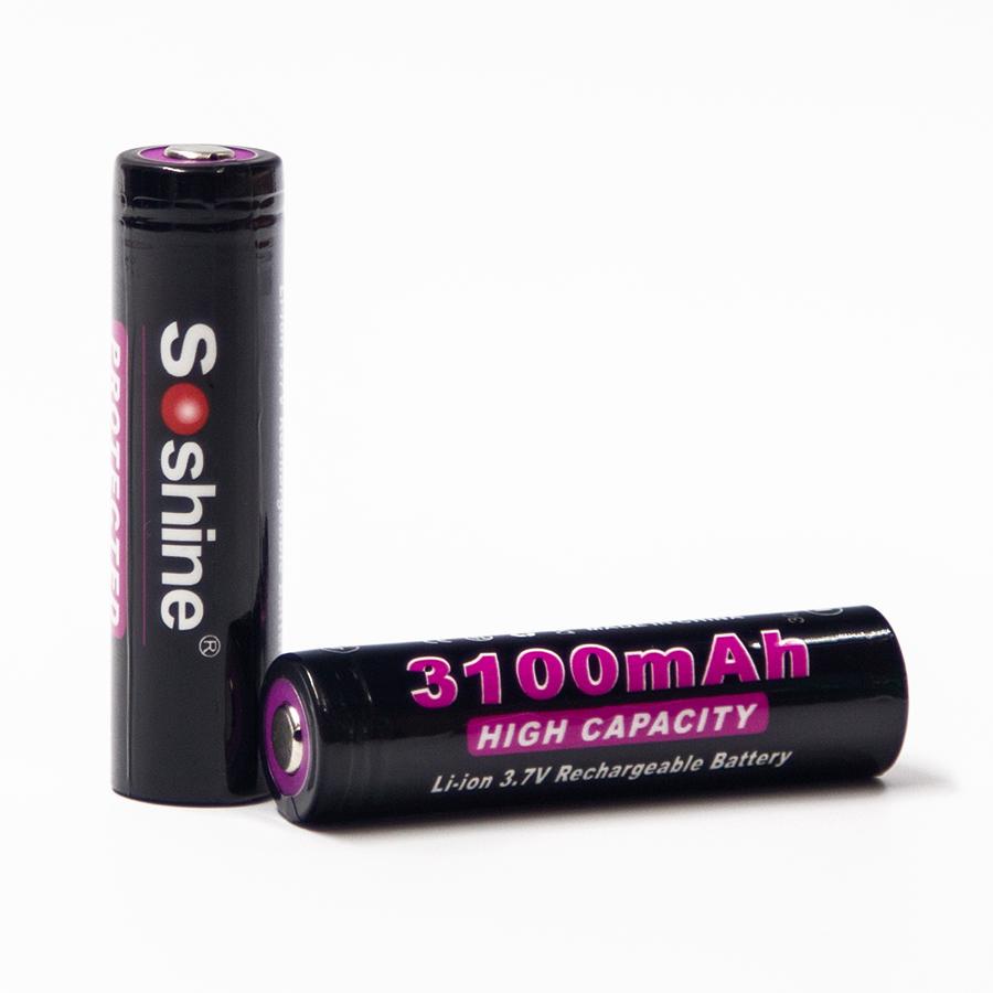 2 Pcs / lot Soshine 18650 Battery 3.7V 3100mAh Rechargeable Protected Li-ion Batteries Cell 18650 PCB Batteries + Battery Case(China (Mainland))