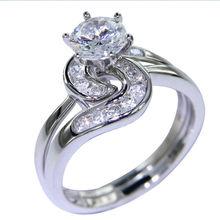 1.5 Ct Шесть Зубец Установка AAA CZ Твердые Стерлингового Серебра 925 Обручальное Кольцо Набор Модные Ювелирные Изделия Бесплатная Доставка Из США(China (Mainland))