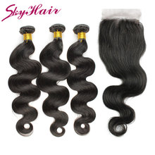 Buy ali sky hair 6a peruvian virgin hair with closure 3 bundles unprocessed peruvian virgin hair body wave with closure 1b color for $108.00 in AliExpress store