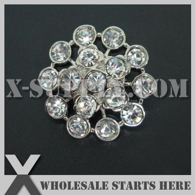 21mm Round Plastic Acrylic Diamond Button for Clothing,Flower Center/Silver Base with Crystal Rhinestone/Bulk Wholesale