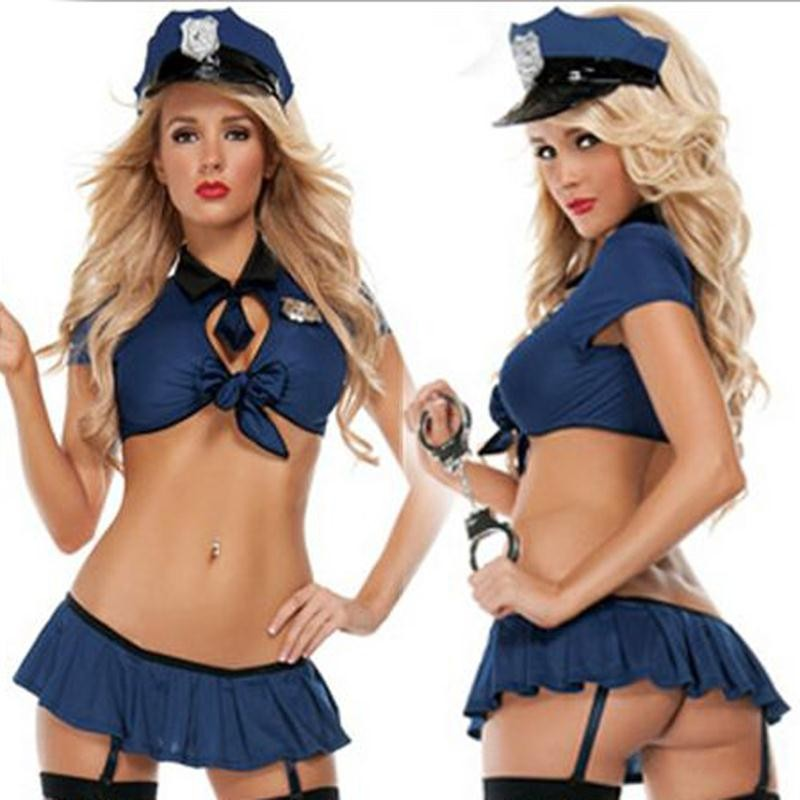 Free Shipping!!1 Set New Ladies Police Fancy Halloween Costume Sexy Cop Outfit Woman Cosplay Erotic Lingerie Costumes for Women