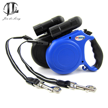 5M Multifunctional Pet Traction With LED Flashlight & Garbage Bag Dispenser Automatic Retractable Dog Leash(China (Mainland))