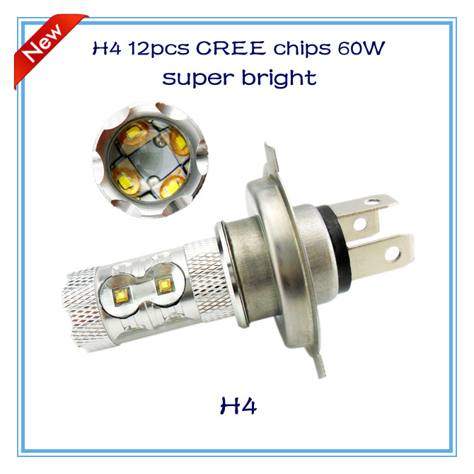 2014 new products H4 60W 12pcs cree chips led headlamp high beam and low beam led fog light auto lamp accessories car parts DRL(China (Mainland))