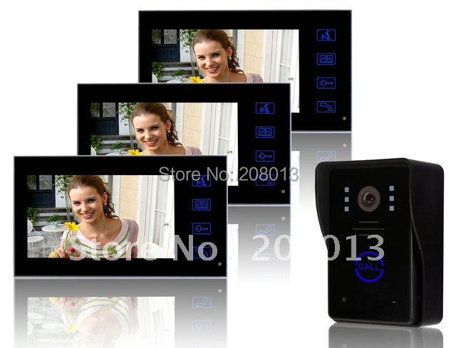 New arrival free shipping cheapest touch button 7 inch wired video door phone 1 camera+3 monitors(China (Mainland))