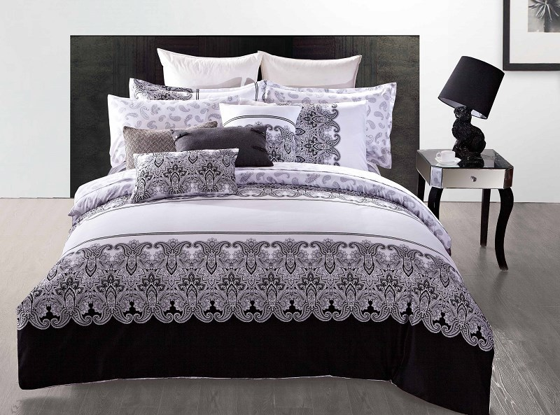 black modern designer print queen 3d cotton comforter set bedding set