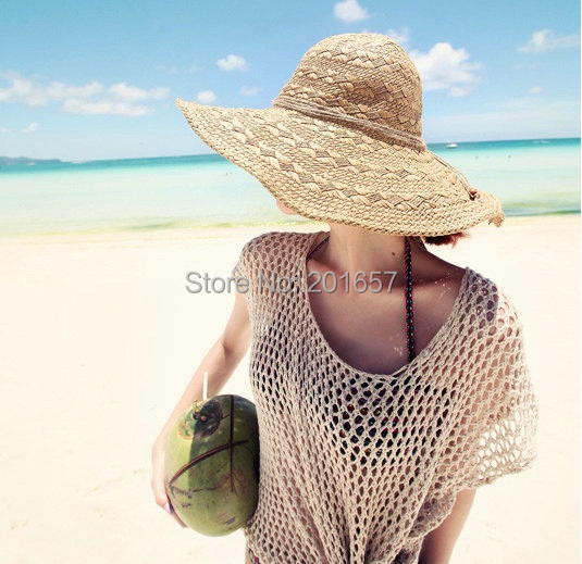 2015 Wholesale and Retail Fashion Women Wide Large Brim Floppy Summer Beach Sun Straw folded Hat Cap with bow Free Shipping(China (Mainland))