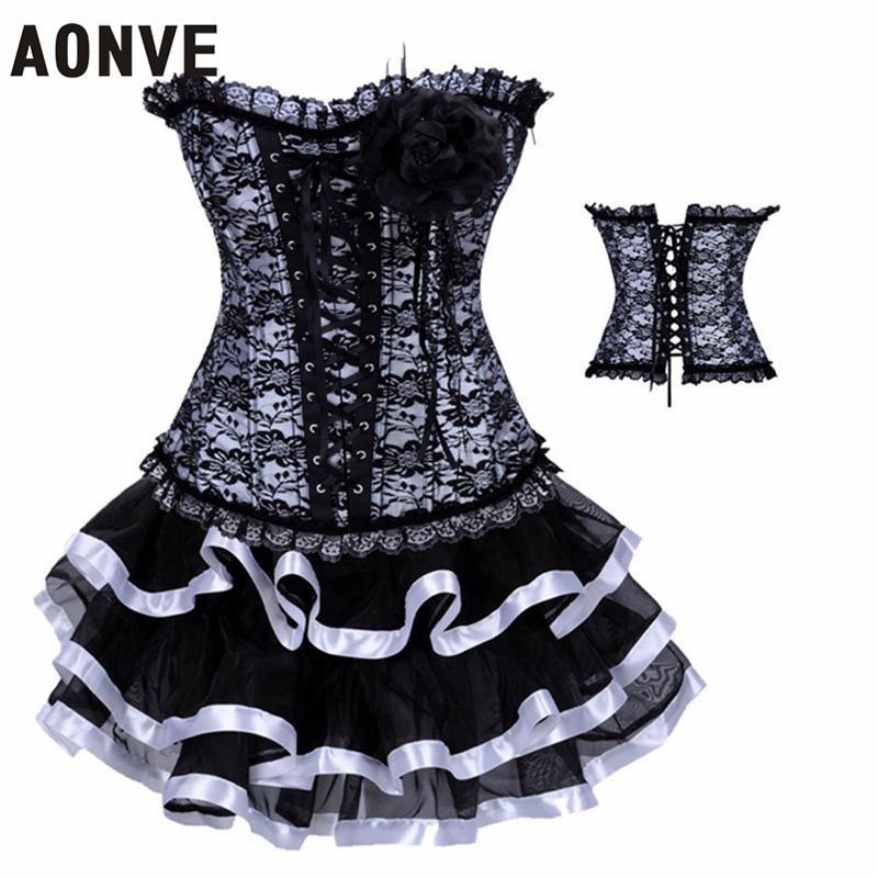 Women Corsets and Bustiers With Mini Skirt Lace Up Hot Shapers Sexy Ligerie Set Black White Dobby Slimming Dance Wear(China (Mainland))