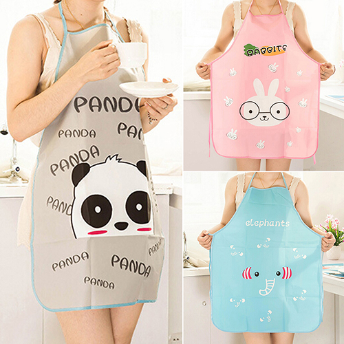 Best Selling Women Cute Cartoon Waterproof Apron Kitchen Restaurant Cooking Bib Aprons(China (Mainland))