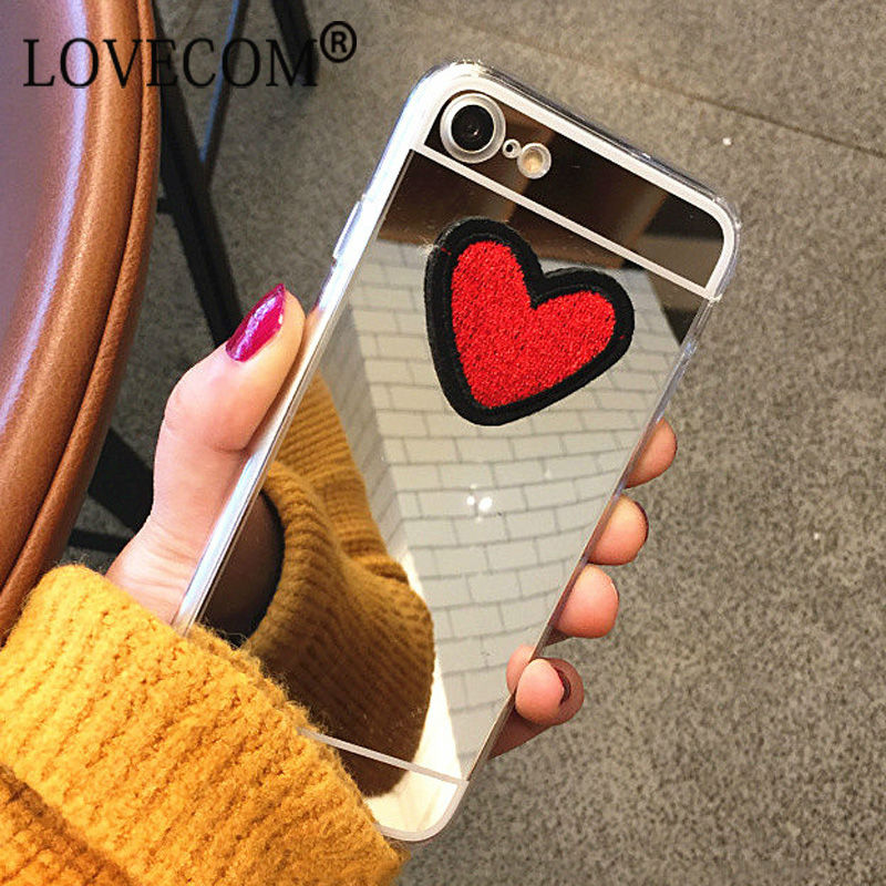 DIY Stitches Love Heart Silver Mirror Soft TPU Phone Back Cover Case iPhone 4 4S 5 5S SE 6 6S 7 Plus New Coque Best Gifts
