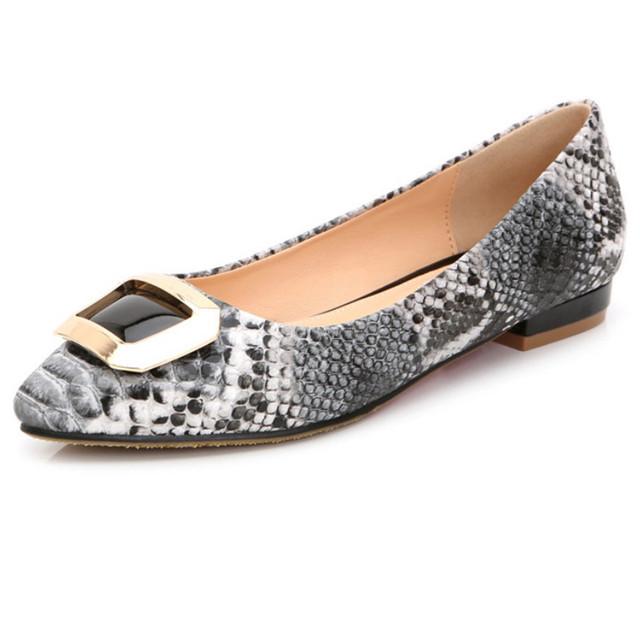 Змея стиль новой весны женская обувь сексуальные острым носом женская квартиры пряжка ...