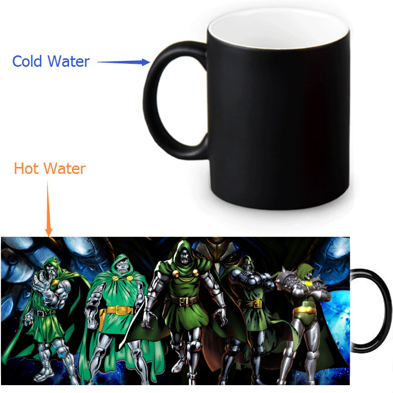 Doctor Doom magic color changing coffee tea milk mug cup funny novelty travel custom morphing mugs 12 OZ/350ml(China (Mainland))