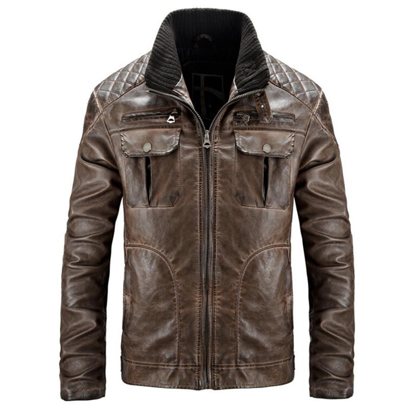 Leather Jacket Men's PU Leather jackets Men jaqueta de couro classic Vintage Punk Veste Homme motorcycle Coat Plus Size XXXL(China (Mainland))