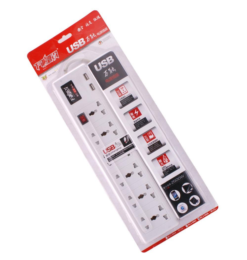 Wholesales 50pcs/lot Electrical extension universal Sockets wall socket 2 USB port 5V/2A multi-function socket USB charging(China (Mainland))
