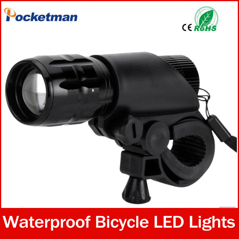 7W CREE Q5 LED 2000lm Aluminum Waterproof IP6 AAA Battery with Holder Front Cycling Bike Bicycle Lights Lamps Lantern Flashlight(China (Mainland))