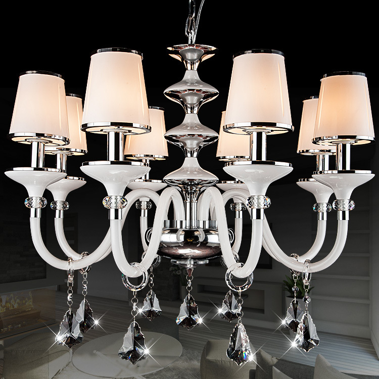 European style led Chandelier fashionable Design K9 Crystal ball lustres de teto white round shade iron branches chandelier<br><br>Aliexpress