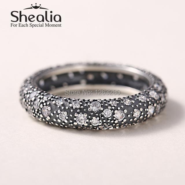 Весна космический звезды кольца с белый прозрачный CZ 925 чистое серебро кольца для женщины своими руками аксессуары RIP115A