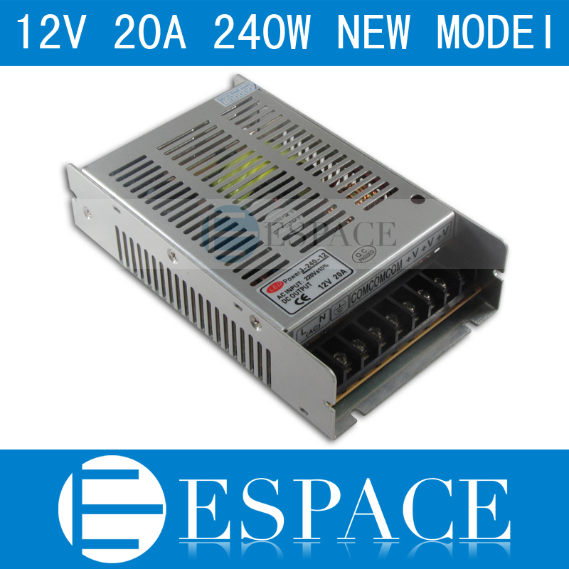 Best quality new model 12V 20A 240W Switching Power Supply Driver for LED Strip AC 100-240V Input to DC 12V free shipping(China (Mainland))