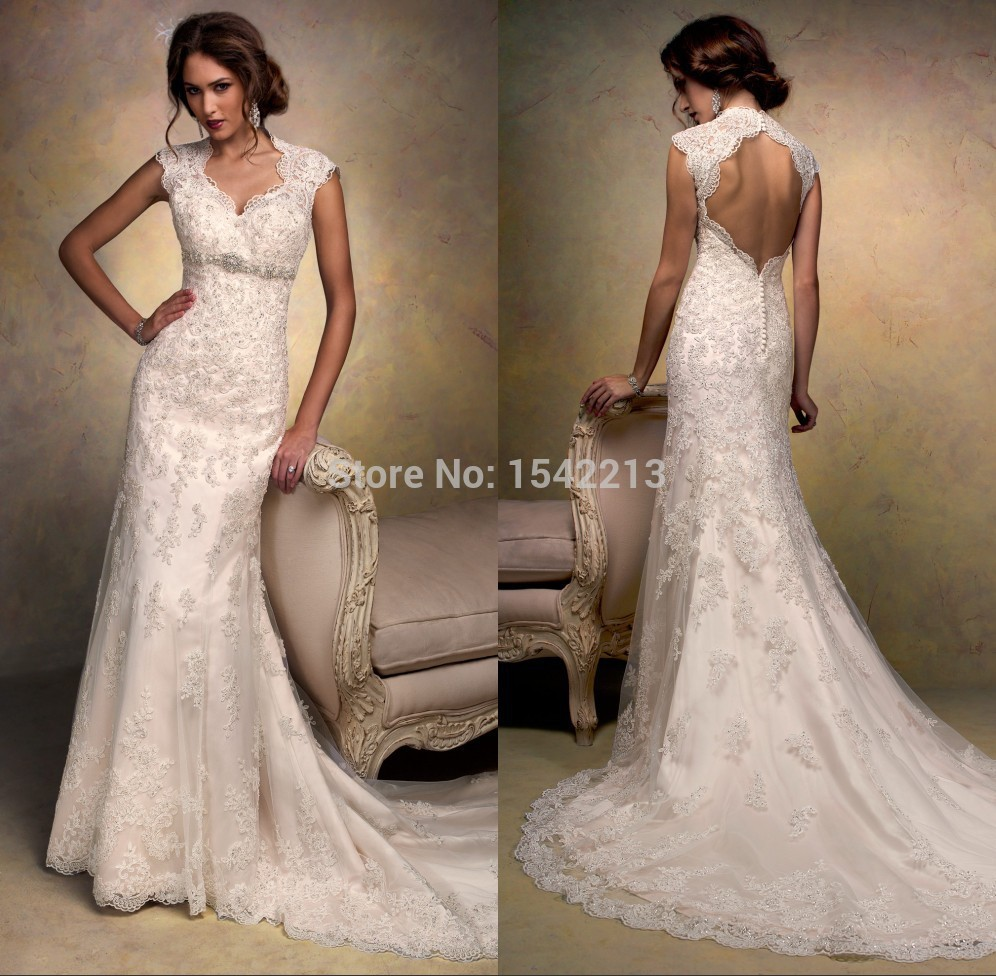 Wedding dress lace vintage style for Lace antique wedding dress