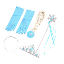 4Pcs/set Princess Elsa Anna Hair Accessories Crown Wig Magic Wand Glove for Kids Party Cheap And Hot(China (Mainland))