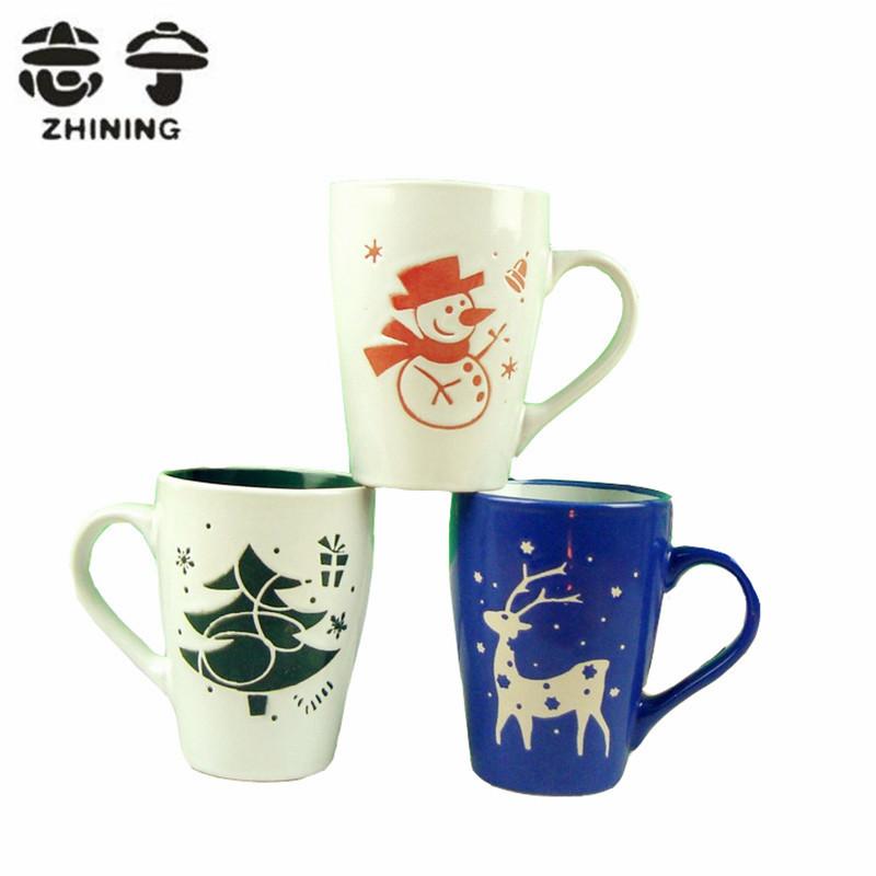 1pc Christmas ceramic coffee mug new snowman Christmas tree sika deer design shape tea water cups drinkware free shipping Y-146(China (Mainland))