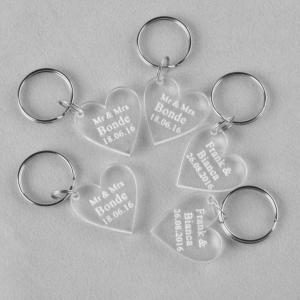 Wholesale Clear Personalized Laser Engraved Keychain Love Heart ...