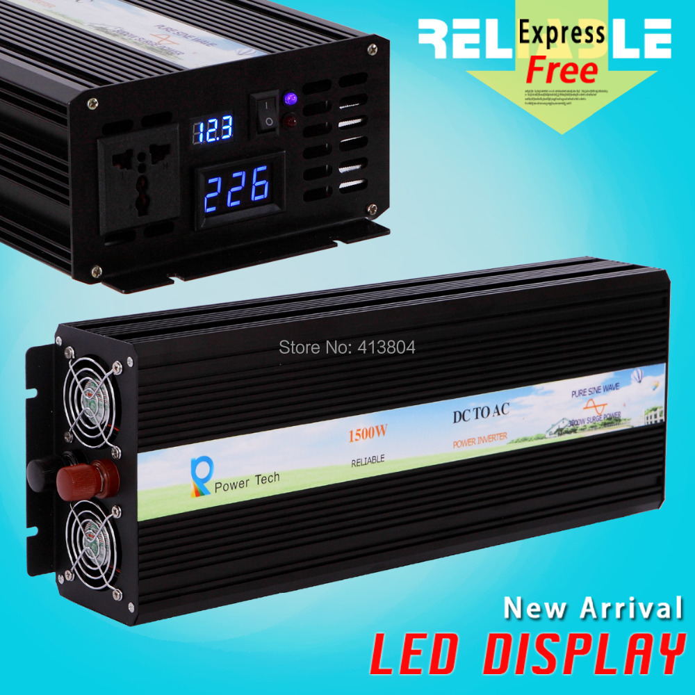 LED Display 1500W high efficiency 3000W Peak power supply Pure Sine Wave dc ac converter off grid solar inverter home inverter(China (Mainland))