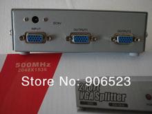 1 input 2 output Metal Shell VGA SVGA 2 Port 1 PC to 2 LCD Displayer Video VGA Splitter(China (Mainland))