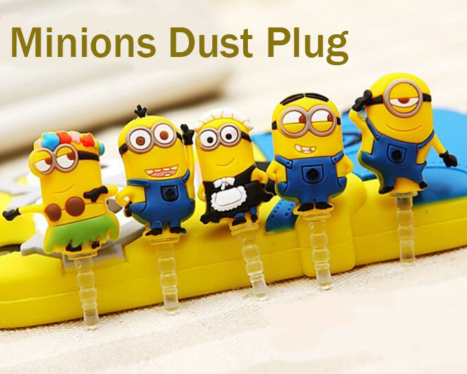 5pc/set 3.5mm Despicable Me Cute Minions Dust Plug for iphone for Samsung /iPad dustproof Mobile Phone Accessories(China (Mainland))