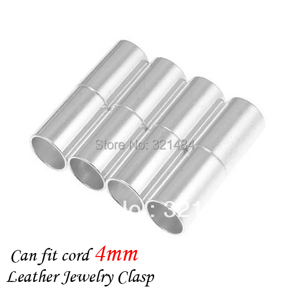 Wholesale 500pcs 5*20mm hole size 4mm Silver plated Leather jewelry tube magnetic clasp end caps for leather cord<br><br>Aliexpress
