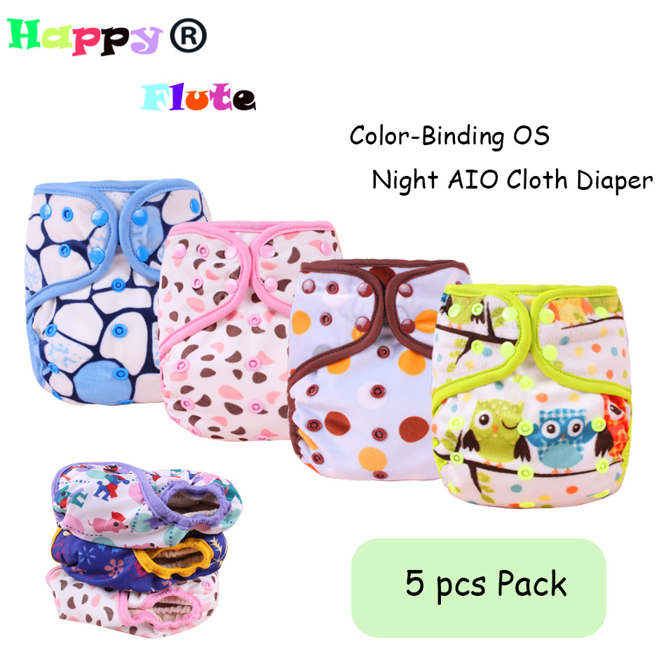 NEW Arrival ! HappyFlute Hemp Cloth Diaper Color-Binding OS Night AIO Baby Diaper Heavy Wetter Diaper 1 pcs Pack