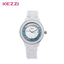 Damas de cerámica blanca relojes Kezzi aleación de moda Anolog cristal de cristal mujeres Relogio relojes de pulsera de cuarzo reloj de regalo