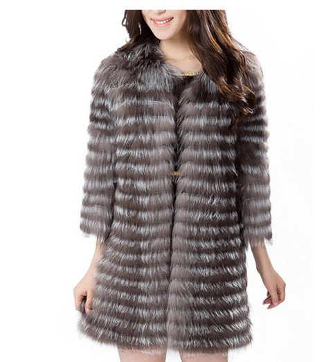 Luxury New 2015 Winter Genuine Silver Fox Fur Coats Women's Natural Color Outerwear Plus Size Real Fur Jackets FashionCW2994(China (Mainland))