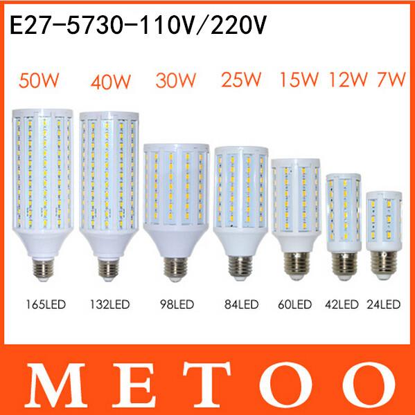Super Bright 7W 12W 15W 25W 40W 50W LED Lamp E27 5730 (5630) SMD 110V/220V Lampada LED Light Lanterna Corn Bulbs Spotlight(China (Mainland))