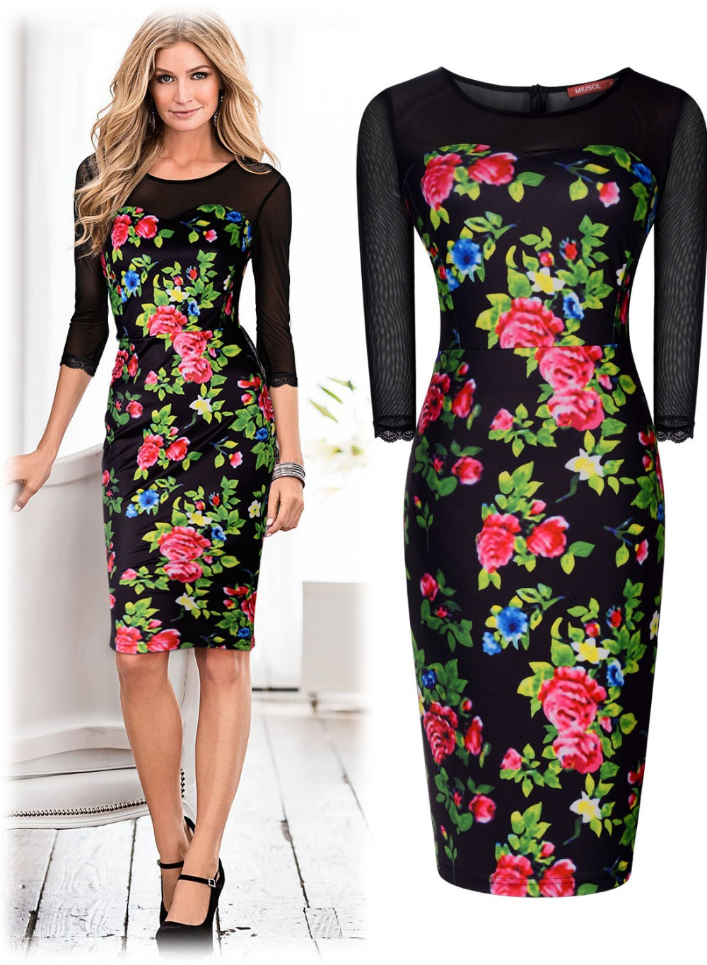 Innovative Womens Print Floral Summer Party Bodycon Pencil Hawaiian Tunic Dresses