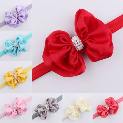 1PC HOT NEW Infant Baby Girls Bow Rhinestone Headband Elastic Pearl Big Bow Knot Hair Band(China (Mainland))