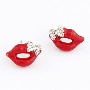 free shipping 2015 fashion bow rhinestone sexy red lips lipstick earrings