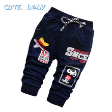 2016 Spring Cotton Boys Pants Fashion Cartoon Children's Baby Boy Pants Sport Casual All-Match Pants For Boys 7-24M
