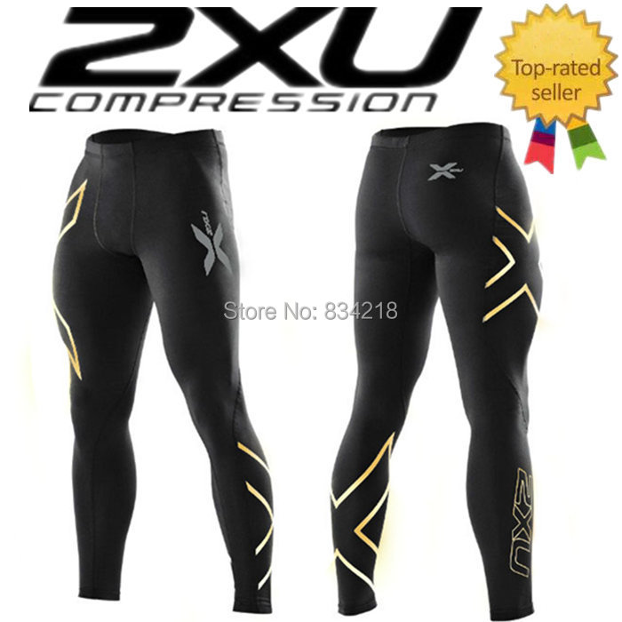 Sports 2xu Elite shiny gold golden logo compression trousers fitness pant male sports running bike bicycle 2 xu tight bottom(China (Mainland))